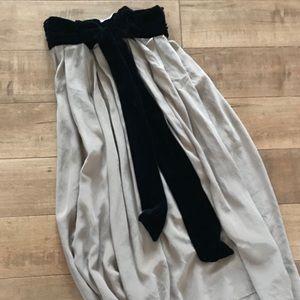 100% crepe silk and velvet bow skirt